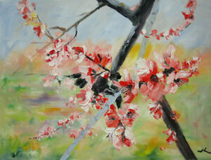 Original-Oil-Painting-Peach-Blossom-18x24-034-Julia-Lu