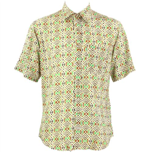 Mens Loud Shirt Retro Psychedelic Festival Party Funky Abstract Green REGULAR