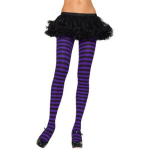 Leg-Avenue-Women-Adult-Striped-Costume-Tights-Black-Purple-One-Size