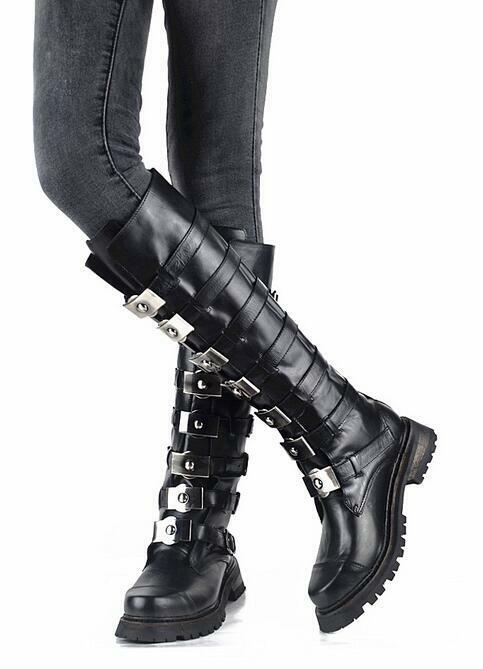 shopping online e negozio di moda donna Buckle Metal Motorcycle Winter Winter Winter Combat Knee High stivali scarpe ALL US Sz Hot  sconto prezzo basso