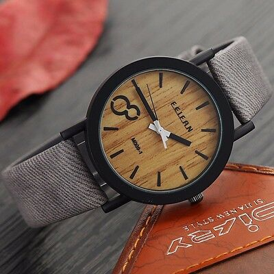 Wooden Relojes Quartz Men Watches Casual Wooden Color Leather Strap Watch a33