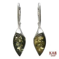 GREEN BALTIC AMBER STERLING SILVER 925 JEWELLERY DANGLE EARRINGS. KAB-85