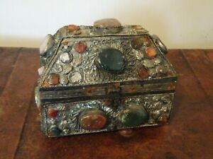 Antique-Hand-Crafted-Metal-Applique-Covered-Wooden-Box-with-Gemstones-Decoration