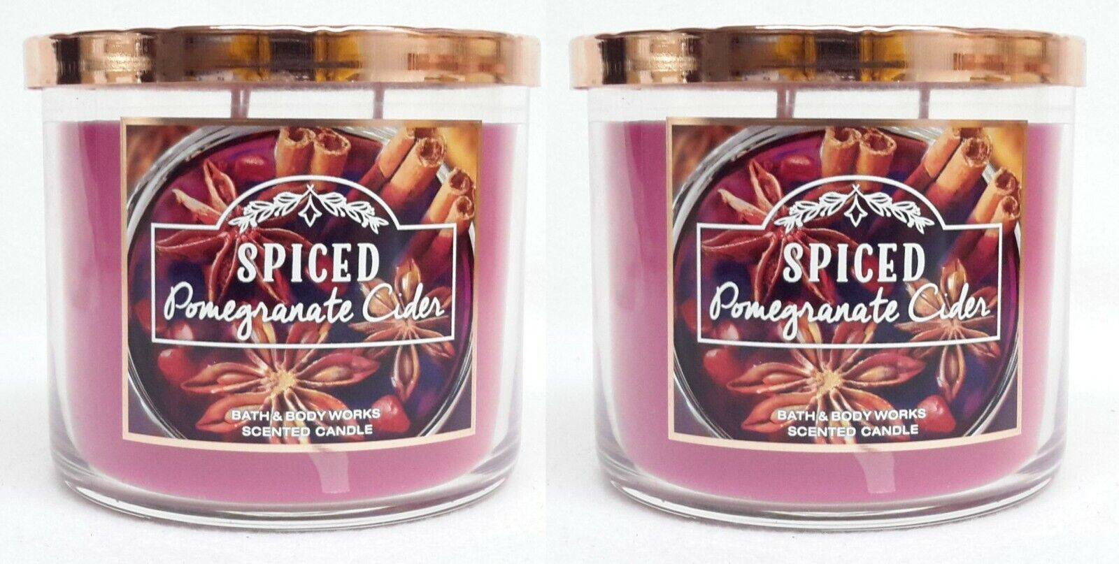 2 Bath & Body Works SPICED POMEGRANATE CIDER 3-Wick Scented Wax Candle 14.5 oz