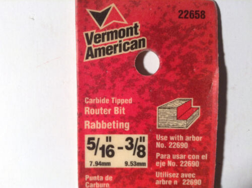 "Vermont American 22658 Carbide Tipped 5//16/""-3//8/"" Rabbeting Router Bit 2 Pcs."