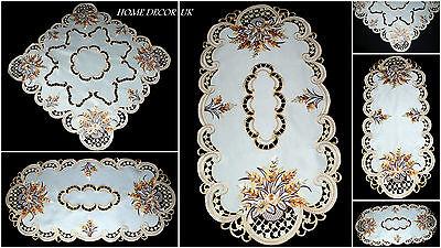 Bellissimo Ricamato Erbe Ovale Quadrato Beige Tavola Runner Tablecloth Doily- Una Grande Varietà Di Modelli