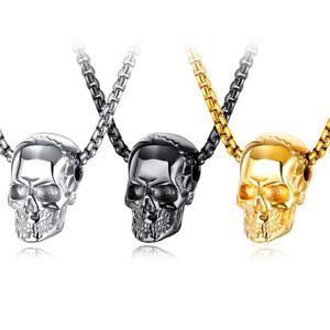 3D Totenkopf-Anhänger Edelstahl Kette silber gold schwarz Skull Bikerschmuck
