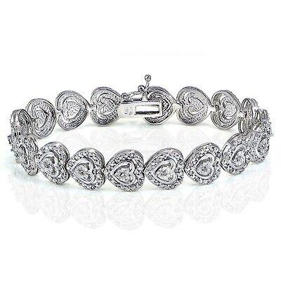 1.00ct TDW Diamond Miracle Set Heart Tennis Bracelet in Brass