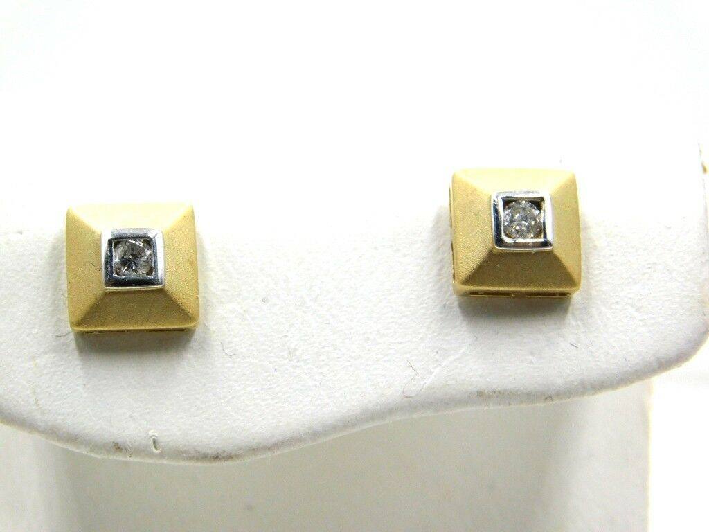 DIAMOND .12ct 14K Yellow gold Square Earrings - GAL APPRAISAL- Gift Box