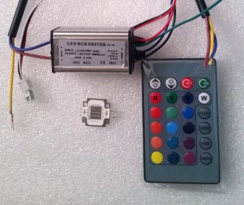 10W RGB SMD LED 10W RGB  waterproof Driver AC110-250V 24 key Remote control