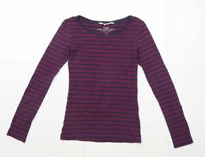 H-amp-M-Womens-Size-S-Striped-Cotton-Blend-Purple-Top-Regular