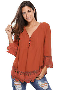WOMEN-034-S-034-034-M-034-Ladies-Brown-Lace-Detail-Button-Up-Sleeved-Blouse