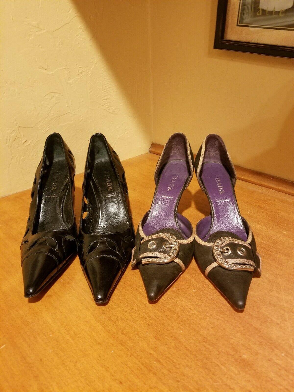 2 Pair of Authentic Prada Leather gattino Heels calibro  38.5 o 8  caldo