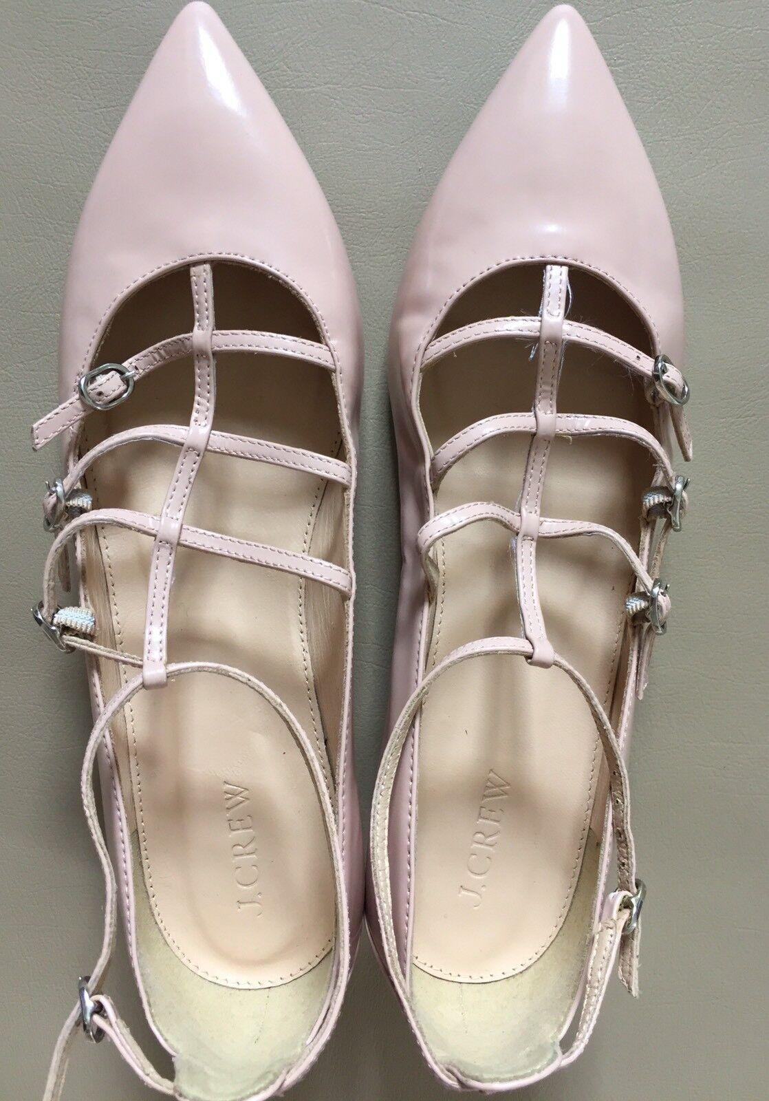 J Crew  168 con Jaula Pisos En En En Cuero Brillante 8.5 pálida Bloom Zapatos f5530 actual  centro comercial de moda