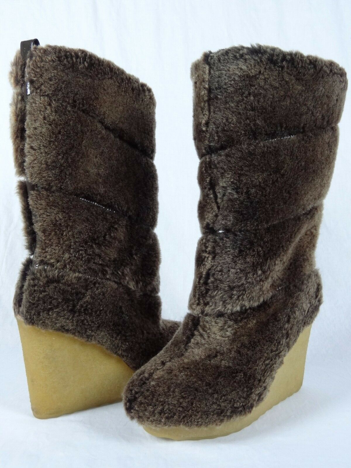 NIB Tory Burch KiKi Wedge Boots Shearling Coconut 298 sz 8 Brown Fur