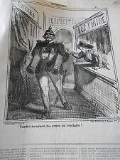 Litho Caricature 1867 Exposition Monsieur les armes au Vestiaire Canons