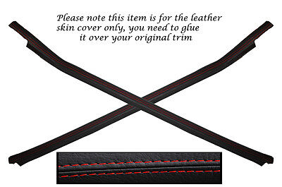 RED STITCH 2X DOOR POCKET LEATHER SKIN COVERS FITS PORSCHE 924 944 75-85