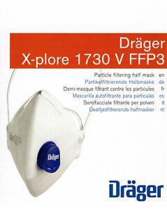 Mundschutz Dräger FFP3 Schutzmaske Atemschutz Halbmaske 10 Stück Box 1730 V