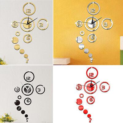 Fashion 3D Modern Decoration Mirror DIY Home Living Room Wall Clock Sticker New