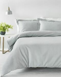 TEXTURED WAFFLE SILVER GREY 100% COTTON SUPER KING DUVET COVER