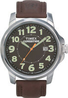 Timex Men's Expedition | Brown Leather Strap Silver-Tone Case Indiglo | T44921