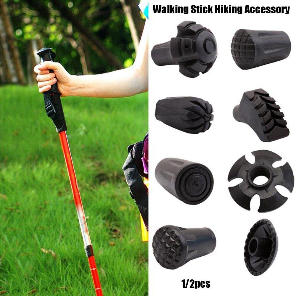 Pack of 5pcs Rubber Tips Cover for Hiking Walking Stick Trekking Poles Black
