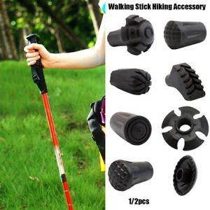2pcs hiking pole replacement tips trekking protector walking stick head protect