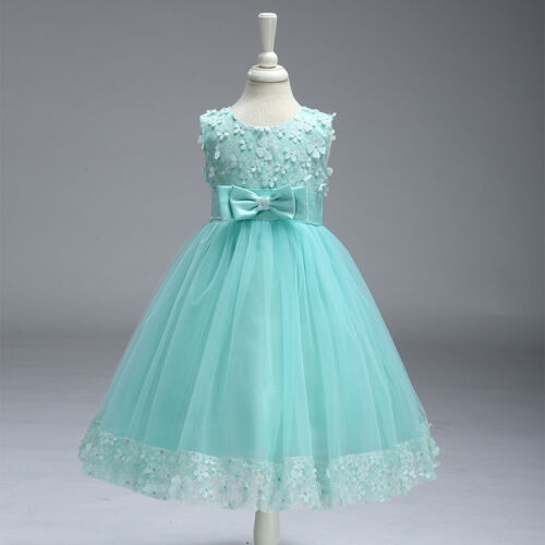 Flower Girls Kids Lace Sequins Party Formal Wedding Pageant Princess ...