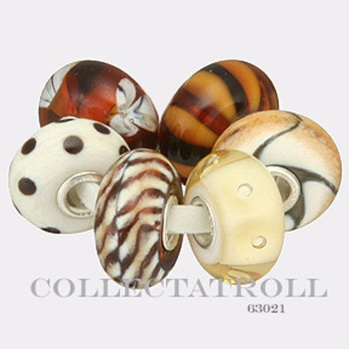 6 Beads 63021  TGLBE-00062 Authentic Trollbeads Silver Brown Beige Kit