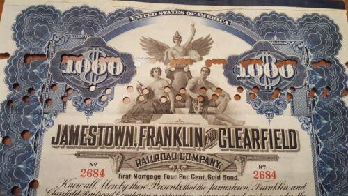 Jamestown Franklin /& Clearfield Railroad Bond Stock Certificate N.Y Central