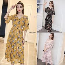 Korean Summer Women Chiffon V Neck Flare Sleeve A Line Party Long Dress Black L