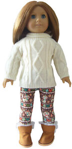"""3 Piece Holiday Leggings Sweater /& Boots for 18/"""" American Girl Doll Clothes"""