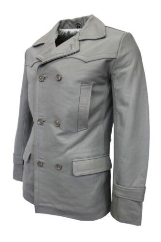Grey New Men's Real Who Dr German Officer Cowhide Uboat Jacket Leather Coat Army Hn64Af