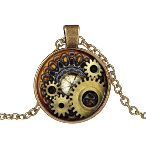 LC/_ Ec /_ Bijoux Steampunk Boussole Engrenages Rouage Cabochon