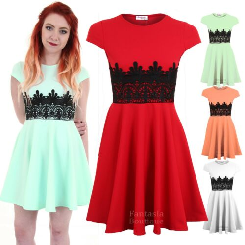 Ladies Cap Sleeve Lace Contrast Women/'s Skater Flare Bodycon Party Mini Dress