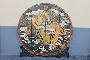 Details About Oriental Art Deco Round Room Divider Screen 4 Panels Folds