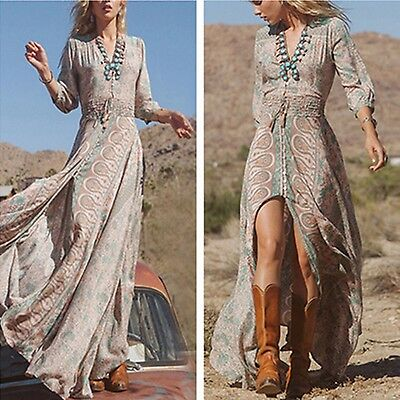 Women Boho HIPPIE GYPSY ETHNIC V Summer Party Beach Long Maxi Dress Sundress