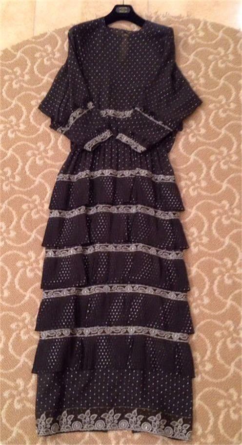 Vintage Karl Lagerfeld for Chloe Dress Grey Silk Metallic Embroidery 1980's
