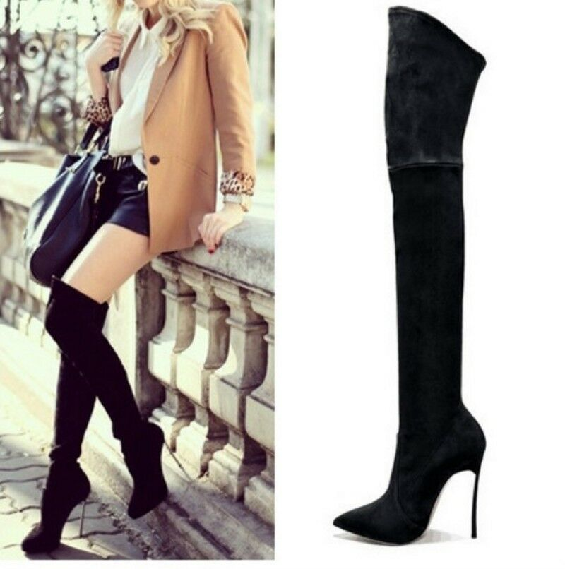 Women Over Knee Boots Suede High High High Heels Pointed Toe Stilettos Casual shoes US10.5 268e47