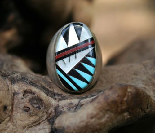 Details about  /Zuni Sterling Silver Inlay Multi-stone Ring Sz 10 Leslie /& Gladys Lamy