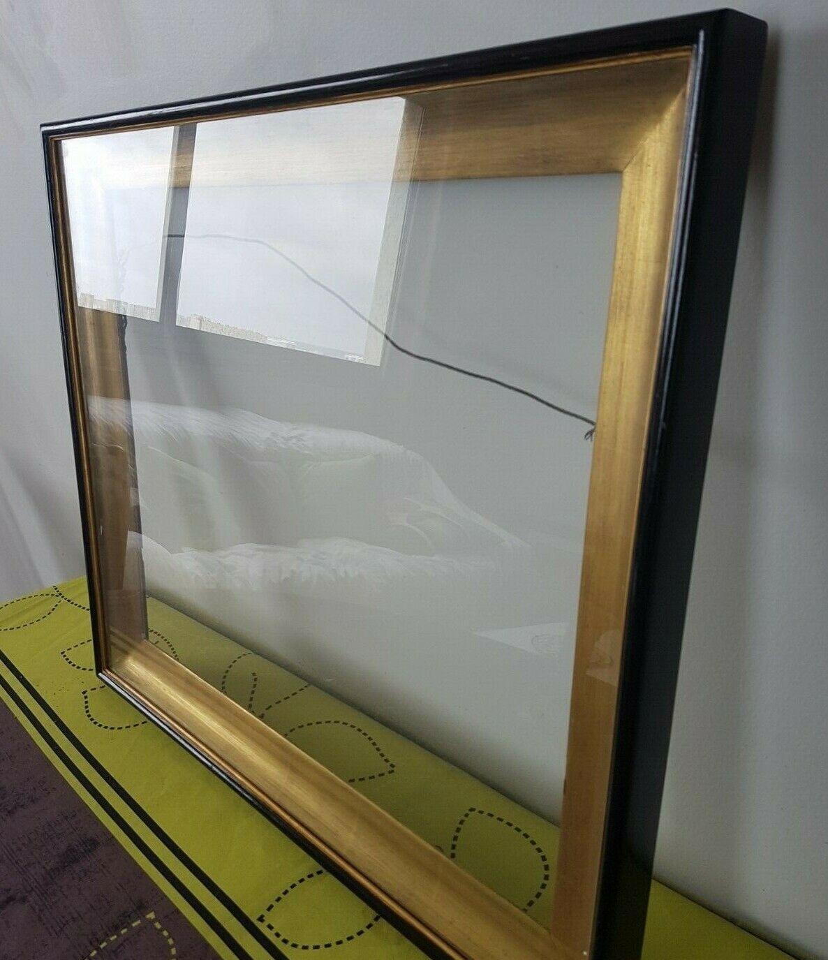 Cadre avec sous verre intégré, en bois doré tranche schwarze, feuillure 43 x 51 cm