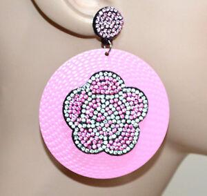 ORECCHINI-rosa-donna-cerchi-pendenti-fiore-strass-brillantini-ragazza-CC108