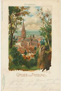 DT-REICH-Gruss-Aus-FREIBURG-im-Breisgau-herrliche-Farblitho-Muenster-Kuenstler