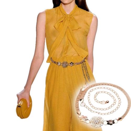 Fashion Elegant Metal Waist Chain Belt Gold Buckle Body Chain Dress Belt  BL