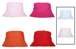 Unisex-Reversible-Cotton-Bucket-Beach-Field-Festival-Fishing-Sun-Hat-4-Colours