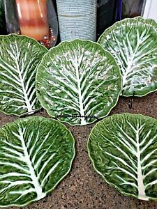 Made-in-Portugal-Dark-Green-Majolica-Cabbage-Leaf-Dinner-Plates-10-5-034-Set-of-5