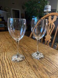 Arthur Court Silver tone  and Glass Goblets/Wine Glasses (2) grapes design EUC