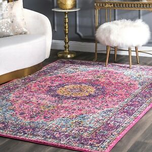 nuLOOM-Traditional-Oriental-Distressed-Area-Rug-in-Pink-Purple-Blue