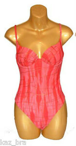 Willensstark New Red / Pink Swimsuit Uk 10 Underwired Moulded Padded Cups Ladies Sexy Eur 36