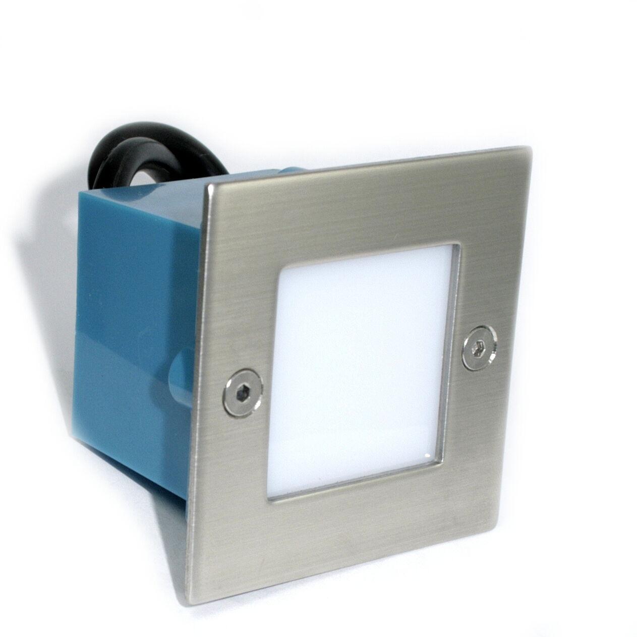 10er Set LED Einbaustrahler Leon 230Volt 1.5Watt IP54 Quadratische Stufenspots